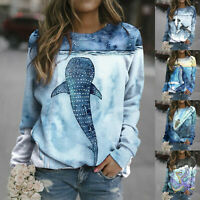 Women Ocean animal Printed Long Sleeve Pullover T-shirt Ladies Loose Tops Jumper