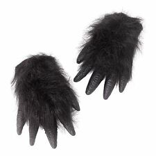 Adult Black Ape Gorilla Costume Gloves Hands Chimp Furry Hairy Animal Monkey New