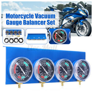 4X Motorcycle Carburetor Carb Vacuum Gauge Balancer Synchronizer Diagnostic Blue