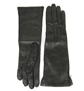 NEW Authentic Bottega Venega Womens Long Leather Gloves Black 304902 1000