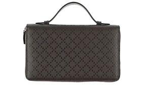 Gucci Double Zip Dark Brown Wallet With Handle Unisex Dull Metal Zip.