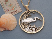 "Egret  Pendant Hand and Necklace Hand Cut Egret Coin  1-3/8"" dia.  ( # 563 )"