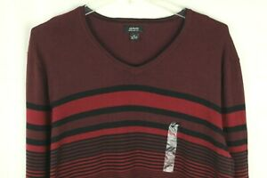 Alfani Men's Red Striped V Neck Knit Sweater Size XL