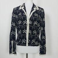 Vintage Alberto Makali Size 12 Blazer Jacket Embroidered Black Wool Blend Casual