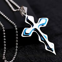 Herren Titan Edelstahl Kette Halskette Kreuz Cross Anhänger - silber / blau