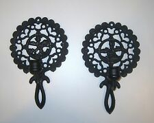 Vintage Pair of J.Z.H. Cast Iron Trivet Sconce Candle Holders #20 and  #21