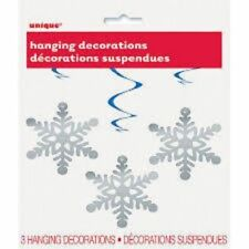 "Winter Snowflake 3 Hanging Swirls 26"" Christmas Frozen Party"
