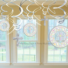 12 Silver Holy Communion Christening Hanging Swirls Party Decorations Boy / Girl