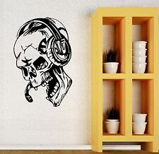 Gamer Wall Stickers Vinyl Decal Play Skull Music Headphones Video Game (ig450)