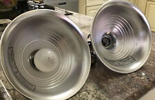 """2 Pcs Heavy Duty 8-1/2"""" Aluminum Reflector Shade Clamp on Work Light Lamp, EUC"""