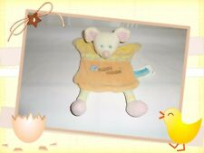 Y - Doudou Semi Plat Souris Orange Jaune Rose Rayures Happy Mouse Kimbaloo