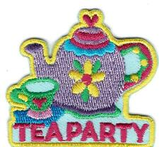 Girl Boy Cub TEA PARTY Purple pot mom Fun Patches Crests Badges SCOUT GUIDE Iron