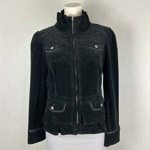White House Black Market Women's Zippered Black Corduroy Jacket Blazer Size 4