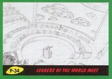 Mars Attacks The Revenge Green Pencil Art Base Card P-34 Leaders of the World M