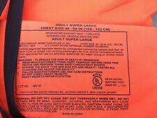 "ADULT SUPER LARGE~West Marine Type II Orange Life Jacket Vest 40-60"" Chest"
