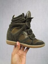 ISABEL MARANT taille 36 UK 3 Bekett WEDGE BROWN TRAINER Sneaker Bottes Authentique