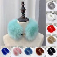 Women's Faux Fur Neck Scarf Circle Winter Warmer Fluffy Buckle Button Collar