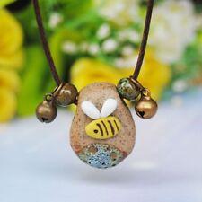Women Ceramic Irregular Stone Bee Pendant Necklace Sweater Chain Adjustable