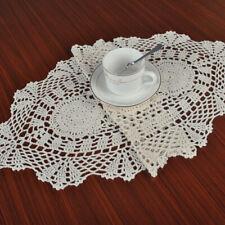 Beige Crocheted Lace Placemat Vintage Cotton Floral Decor Table Topper 12x 28''