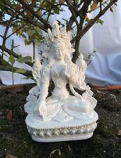 """White Tara 6"""" Resin Statue in Pure White Color"""