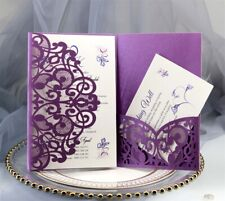 100PCS Wedding Invitation Card Personalized Laser Cut Romantic Party Floral Lace
