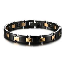 Fashion Men Health Magnetic Ceramic Bracelet Gold Plating Link Chain Bangle