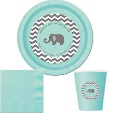 Elephant baby shower plates and cups