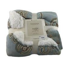 """Sonoma Sherpa Throw 50""""x60"""" Super Soft & Cozy Blanket Blue /Cream /Beige"""