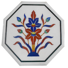 Marble Top Side Table Lapis Carnelian Mosaic Floral Inlay Bedroom Interior Decor