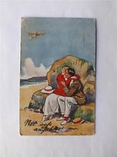 VINTAGE 1917 POSTCARD NOT SAFE ANYWHERE!  MAN WOMAN HIDING AIRPLANE BEACH