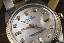 Rolex Date 34mm White Mother of Pearl 8+2 Diamond Accent Dial 2 Tone Oyster Band