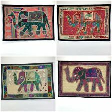 Elephant Wall Hanging Patchwork Hand Embroidery - Boho Ethnic Hippy Nomads Wales