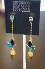 Crystal Linear Drop Gold Earrings Rare New Erickson Beamon Rocks Blondie Blue