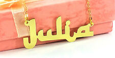 PERSONALIZED GOLD PLATED ENGLISH ARABIC LOOK ANY NAME PLATE NECKLACE  US SELLER