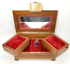 Swiss Reuge Dancing Ballerina Music Box Jewelry Wood Inlay Case Vintage W Key!