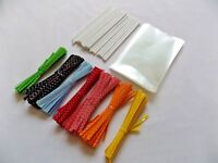 "50 x Cake Pop Kit 4.5"" WHITE Lolly Sticks 3x5"" Cello Bags POLKA DOT Twist Ties"