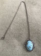 Vintage Southwest Native American Turquoise Sterling Pendant Necklace