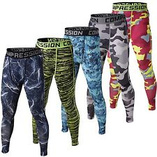 Men Compression Tight Long Pants Camouflage Joggers Slim Cross Fit Fitness Pants
