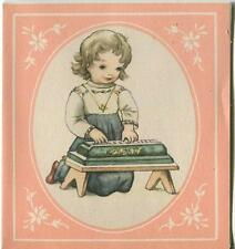 VINTAGE PRETTY GIRL CHILD TOY  PLAYING PIANO MUSIC BLUE PINK PICTURE CARD PRINT