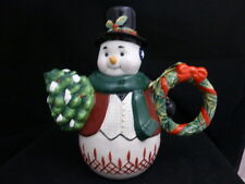 Waterford Ceramic Holiday Heirlooms: Jolly Plaid Snowman Teapot #153763 New