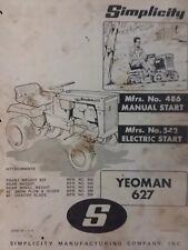 Simplicity 627 Yeoman Lawn Garden Tractor & Implement Owner & Part Manual Mower