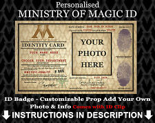 Ministry of Magic Personalised ID Badge Harry Potter Cosplay Costume Comic Con