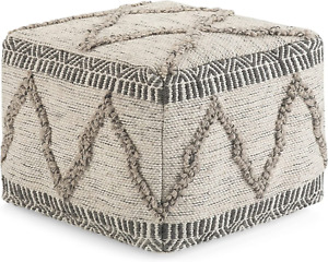 SIMPLIHOME Sweeney Square Poufs, 18 inch, Grey, Natural