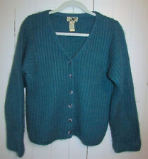 LL Bean Womens Vintage Mohair Wool Blend Ribbed Chunky Knit Sweater Size S Teal