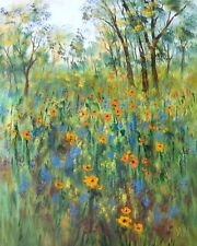 Giclee canvas PRINT - California trees and flowers wild  poppies -16 x 20 x 7/8