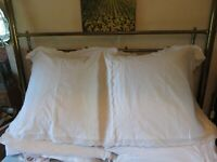 Pair of pretty Vintage white cushion covers white cotton embroidery lace detail