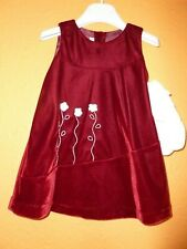 Couche Tot Designer Baby Girls Red Lined  Dress  12-18 months new