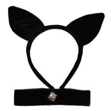 Plüsch schwarze Katze Ohren auf Haarreif & Kragen mit Belll modisches Kostüm-Set