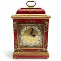 Elliott London Chinoiserie Bracket Clock Red Cinnabar Gold Hand Painted