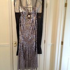 BNWT PEARCE FONDA SILVER/GREY SEQUINNED BALL DRESS- Size 10 RRP£350